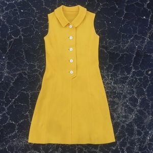 VINTAGE 60s Mustard Yellow Mod Shift Dress